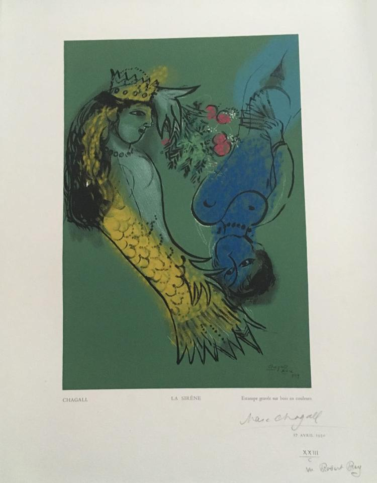 Marc Chagall. La Sirene. 1950. Wood engraving in color, after.