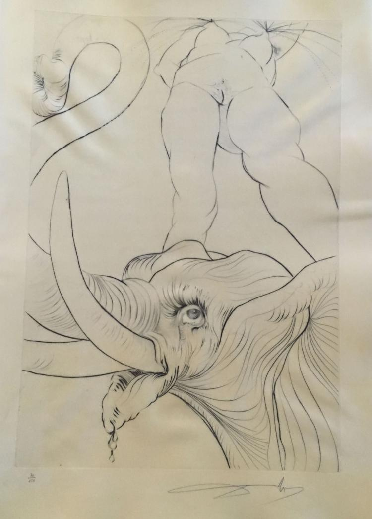 Roi, Je T'Attends a Babylone. 14 Drypoint signed and numbered by Salvador Dali.
