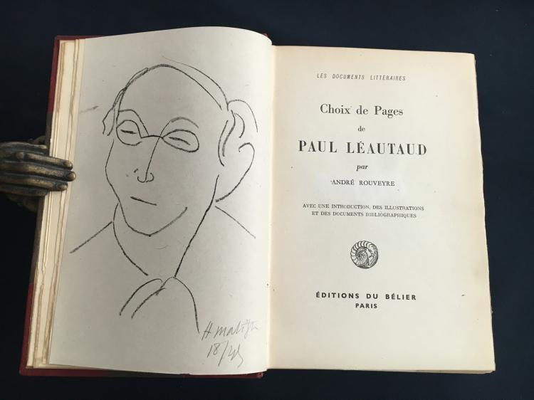 Choix de pages de Paul Leautaud. One of 50 copies with an original lithograph by Matisse signed in pencil.