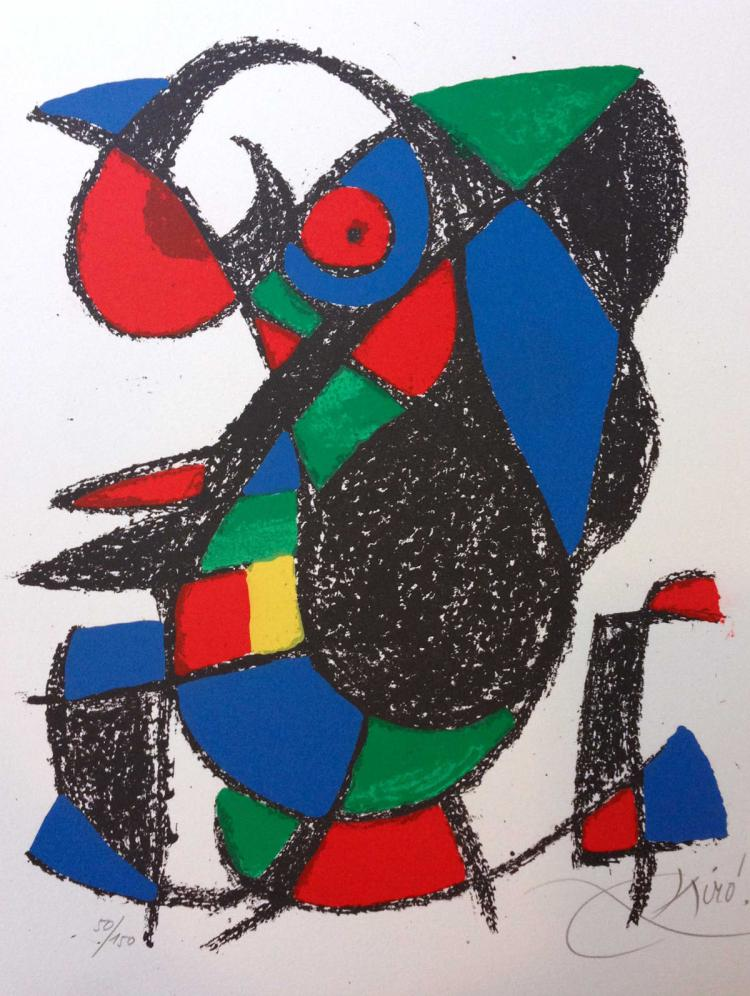 MIRO' LITHOGRAPHE II  1953-1963. Deluxe edition, with 12 lithographs in color and two additional original lithographs in color signed and numbered by Miro.