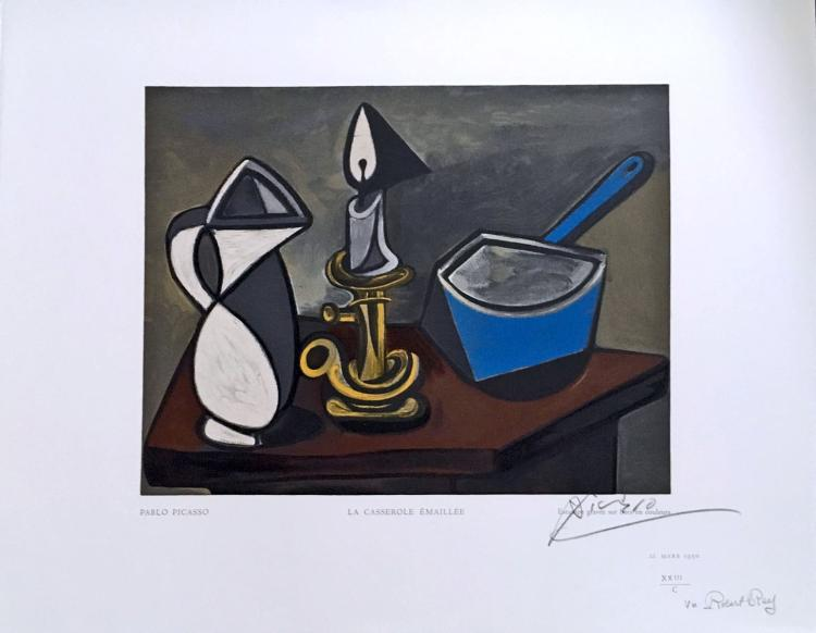 Pablo Picasso. La Casserole Emaillee. Wood engraving in color, after.