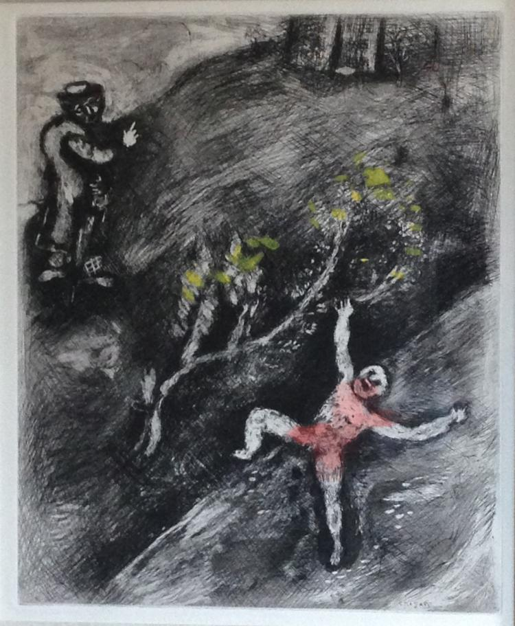 Marc Chagall: L'Enfant et le Maitre d'ecole (The Child and the Schoolmaster) Etching with watercolor. 1952