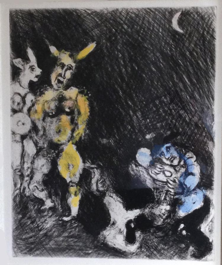 Marc Chagall: Le Satyre et le Passant (The satyr and the traveler) Etching with watercolor.1952