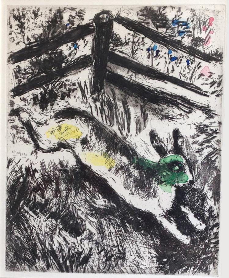 Marc Chagall: Le Lièvre et la Grenouille (The Hare and the Frog) Etching with watercolor.1952.