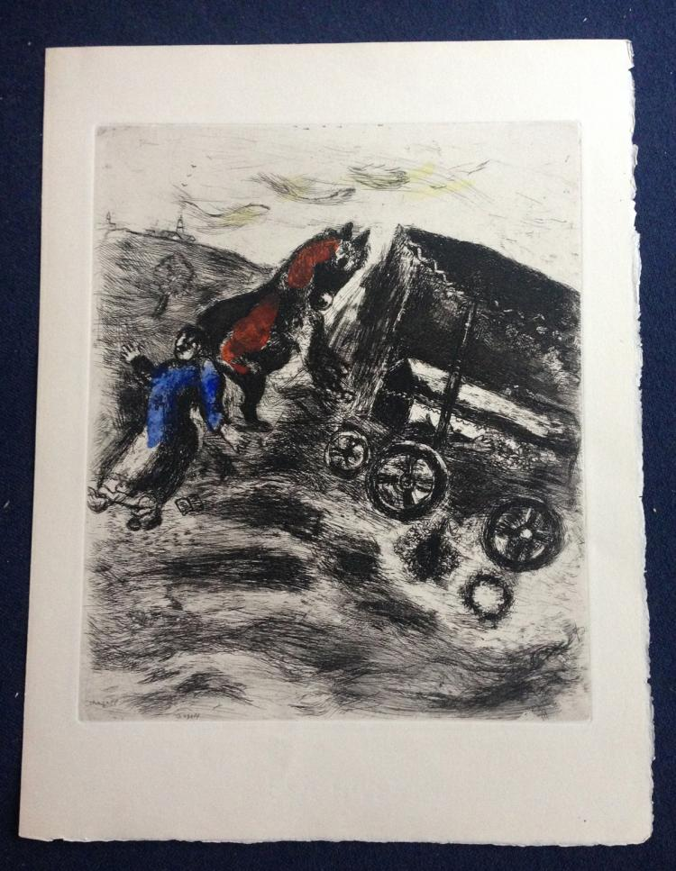 Marc Chagall: Le Curé et le mort (The Priest and the Dead) Etching with watercolor.1952.