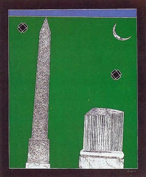 Franco Angeli. Obelisk with Moon. Silkscreen signed and numbered by the artist.