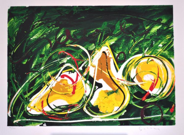 Mario Schifano Still Life. Silkscreen with overlapping enamels. signed and numbered by the artist.