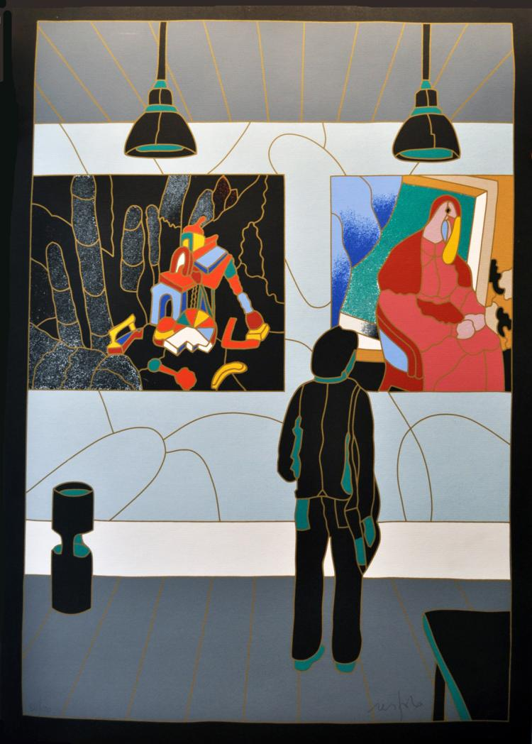 Ugo Nespolo. In the Museum. Silkscreen signed and numbered by the artist.