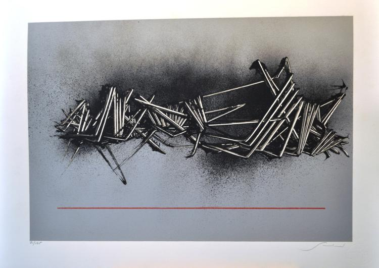 Emilio Scanavino. Grigio Silkscreen signed and numbered by the artist