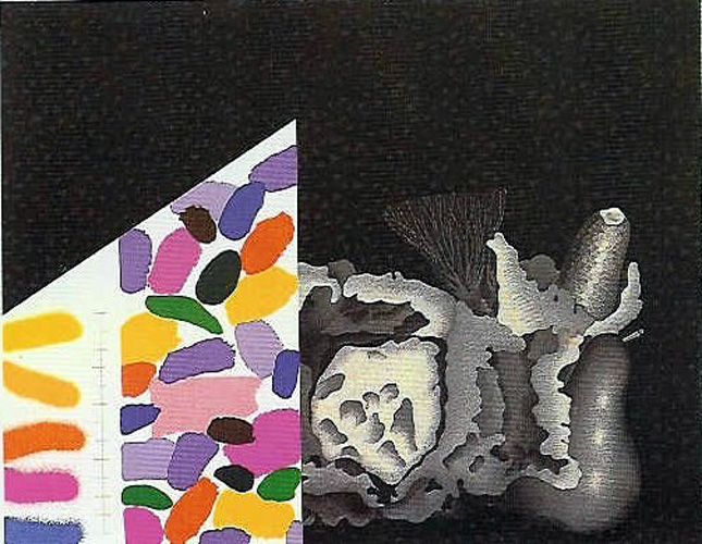 Concetto Pozzati Still Life. Silkscreen signed and numbered by the artist.