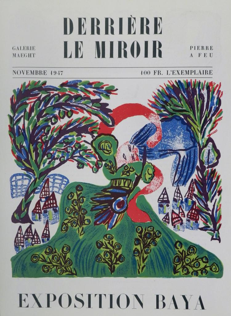 Derriere le miroir 6 1947 original lithographs by baya for Miroir original