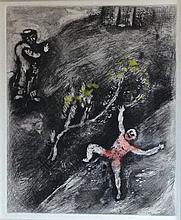 Marc Chagall: L'Enfant et le Maitre d'ecole (The Child and the Schoolmaster) Etching with watercolor. 1952.