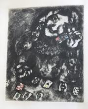Marc Chagall: The Fortuneteller Etching with watercolor. 1952.