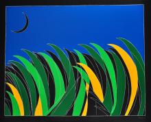 Franco Angeli. Field with Moon. Silkscreen signed and numbered by the artist.