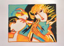 Remo Brindisi . Couple with Goat. Silkscreen signed and numbered by the artist.