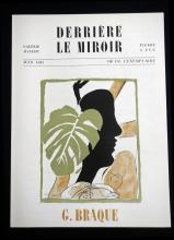 Braque George. Derriere le Miroir 4. 1947, with one original lithographs in color by Braque.