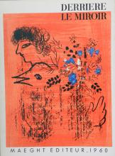 Chagall Marc. Derriere le Miroir 121-122, 1960, with original lithograph by Chagall.