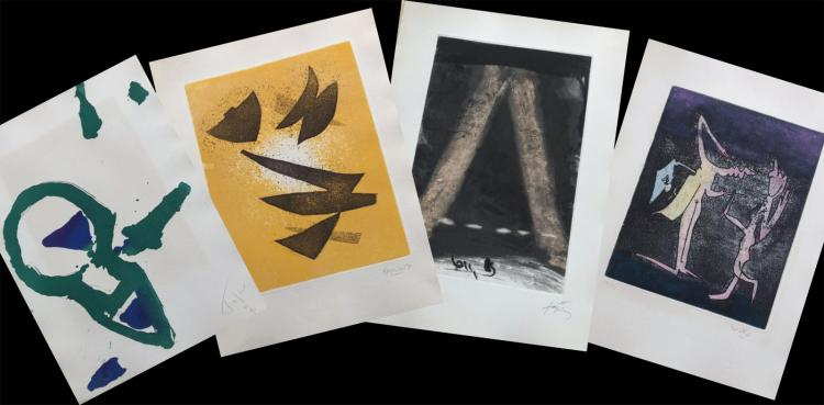 Paroles et Peintes IV, 1970. Portfolio with signed etchings by Tapies, Moore and others.