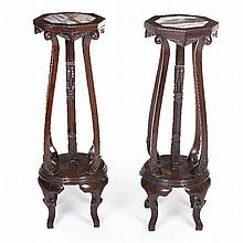 Pair of Chinese support structures for flower vases