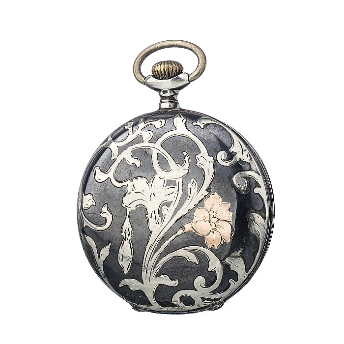 Revue art nouveau pocket watch in silver and gold for Revue decoration
