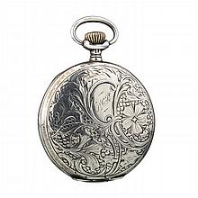 OMEGA - Pocket watch in Art Nouveau silver.