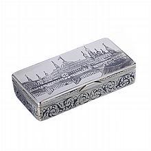 Snuff-box in Russian niello silver