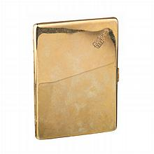 19,2k gold cigarrette case with coat of arms and emeralds
