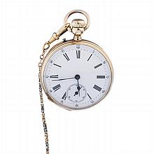 ANCRE - Gold pocket watch, with chain
