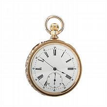 Gold pocket watch with a cartouche and a monogram