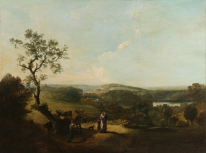 DUTCH SCHOOL, 18th century - Landscape with figures and cows