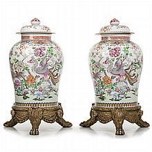 Pair of large Samson 'famille rose' porcelain pots