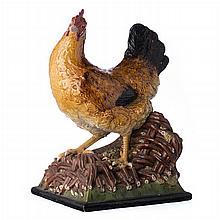 Chicken ceramic sculpture by Bordalo Pinheiro
