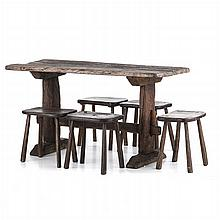 Table and five rustic benches