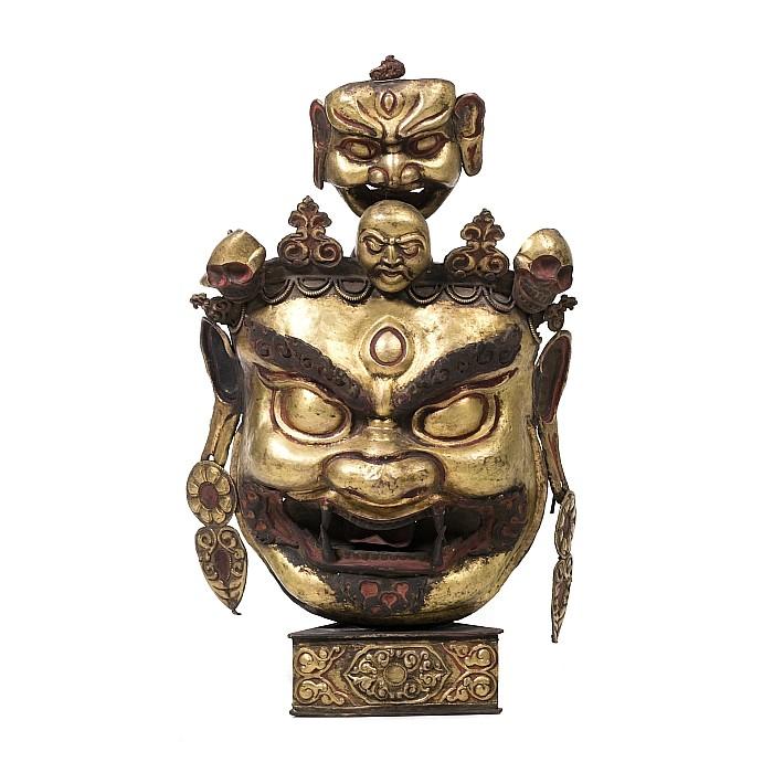 Large Tibetan gilt copper 'Mahakala' protector effigy, 19thC