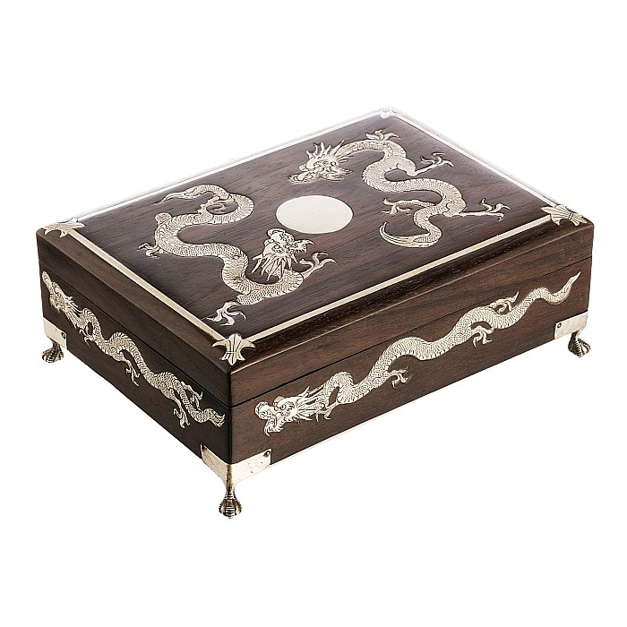 Chinese hongu case with silver inlaid dragons