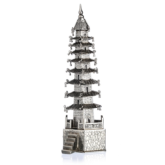 SING FAT - Pagoda in Chinese silver