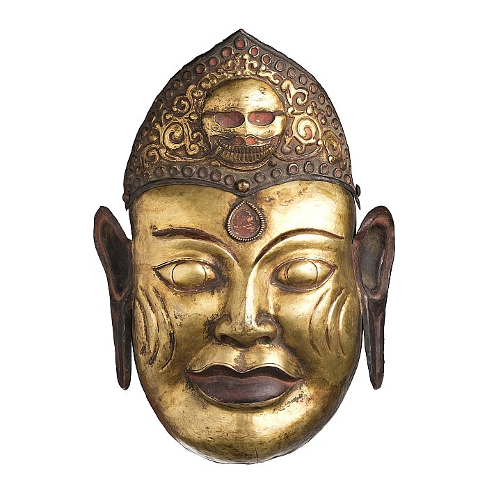 Tibetan gilt copper mask of a Lama