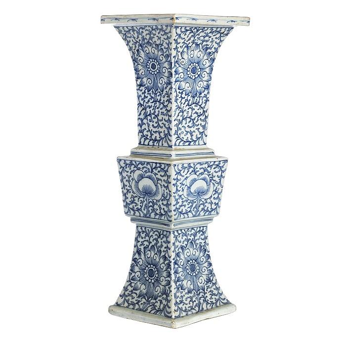 Square vase in Chinese porcelain, Tongzhi