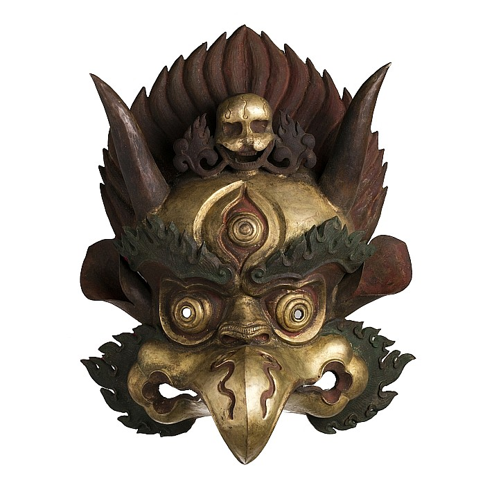 Tibetan gilt copper mask of Garuda, 19thC