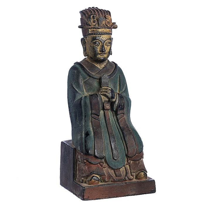 Bronze dignitary figure with calligraphy