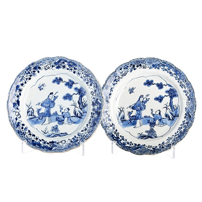 Chinese Porcelain Pair of plates with 'figures, deer and bird', Qianlong