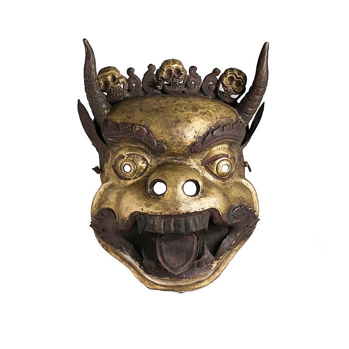Tibetan gilt copper buddhist mask, 19thC