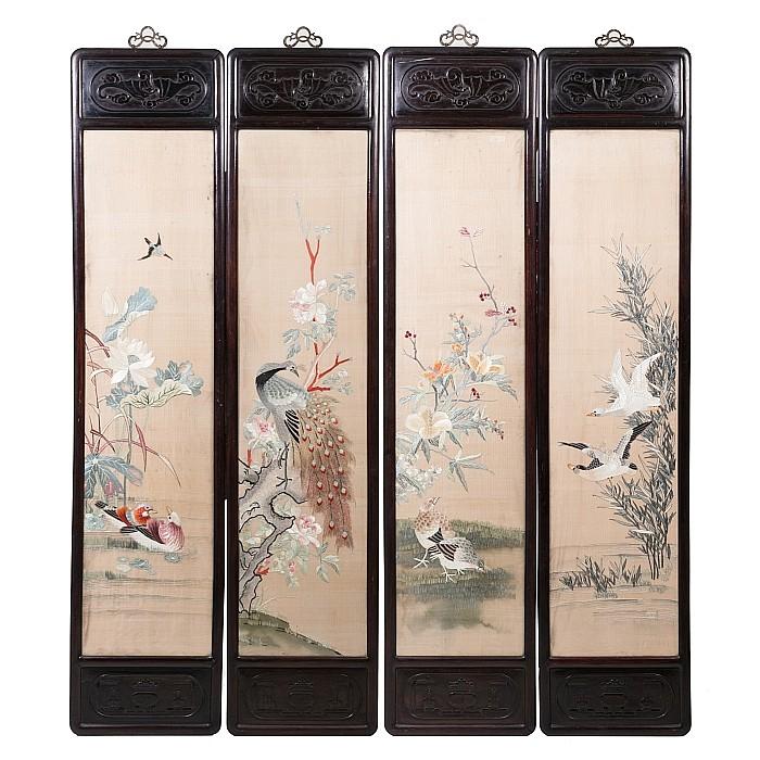 Four silk panels 'Birds amongst flowers' with Hongmu frames, Guangxu