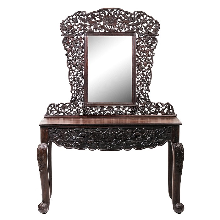 Chinese hongmu console with mirror