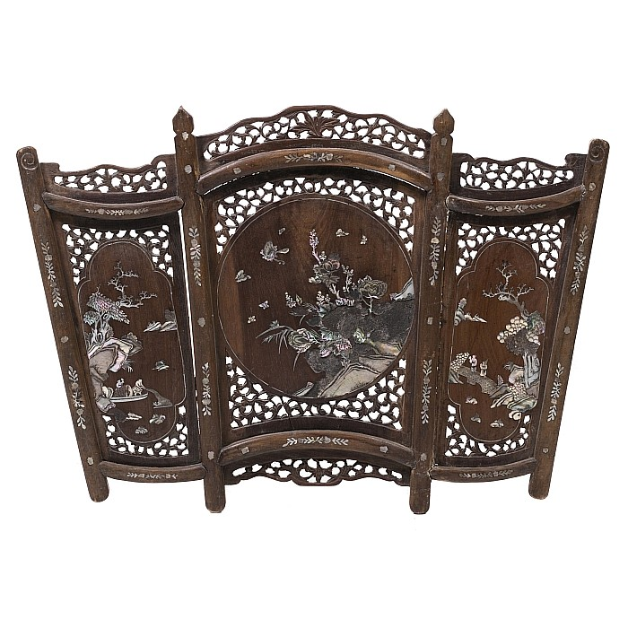 Chinese inlaid exotic wood fire screen, 19thC