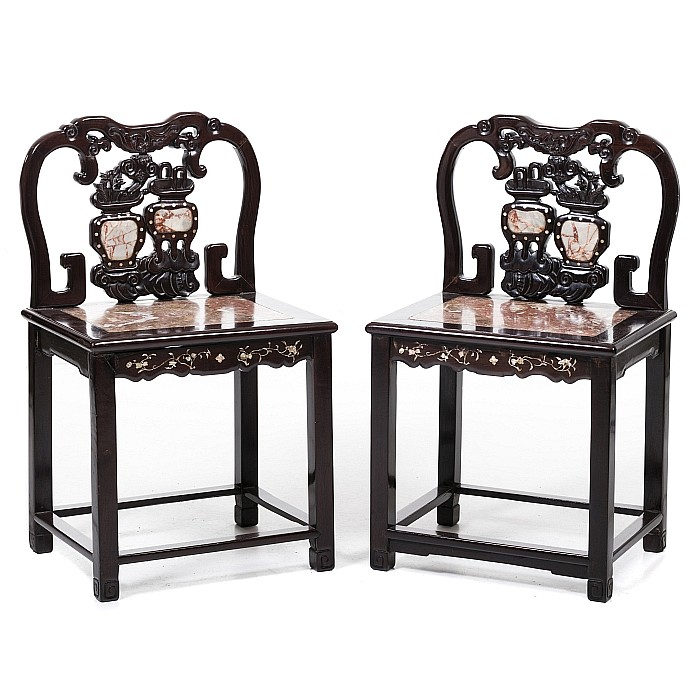 Pair of Chinese chairs with marble, Minguo