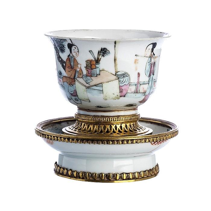 Porcelain bowl, bronze monture, Minguo