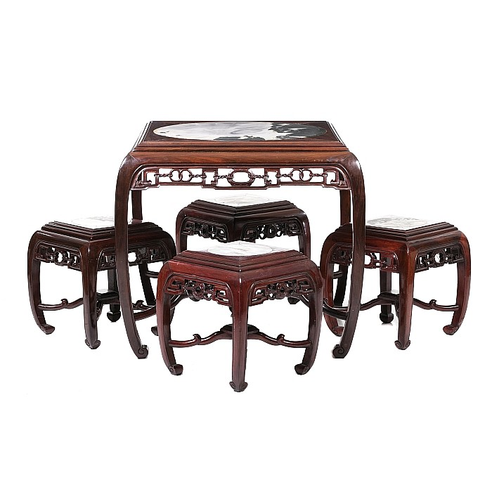 Chinese table and four stools, Minguo