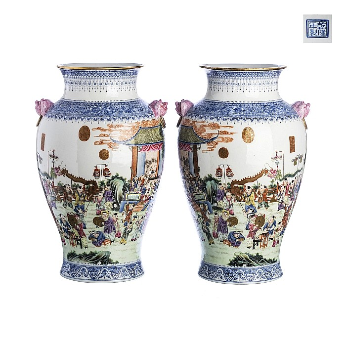 Chinese porcelain large pair of '1000 boys' vases, Republic