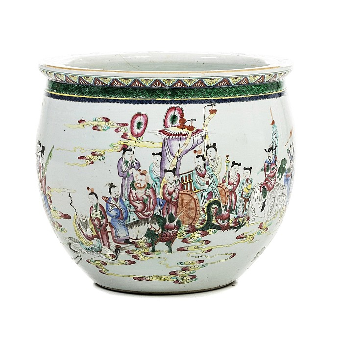 Aquarium with 'figures' in Chinese porcelain, Guangxu